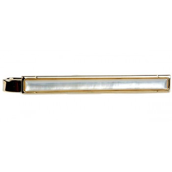 Gold Mother of Pearl Gold Plated Tie Clip #100-4610