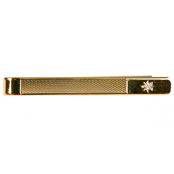 Gold CZ Star Gold Plated Tie Clip #100-9108
