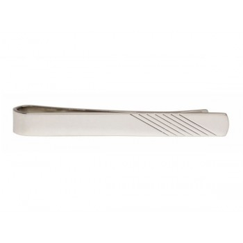 Silver Diagonal Lines on End Rhodium Plated Tie Clip #100-1271