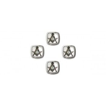 Masonic Mother of Pearl Rhodium Shirt Studs (Set of 4)