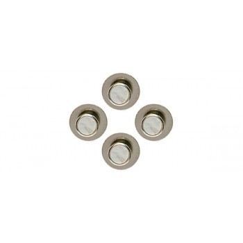 White Round Rhodium Shirt Studs (Set of 4)