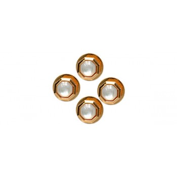 Mother of Pearl Octagon Gold Plated Shirt Studs (Set of 4)