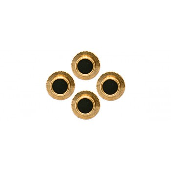 Black Round Gold Plated Shirt Studs (Set of 4)