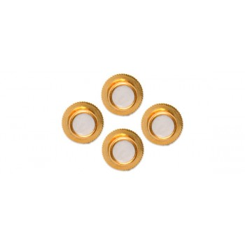 White Round Gold Plated Shirt Studs (Set of 4)