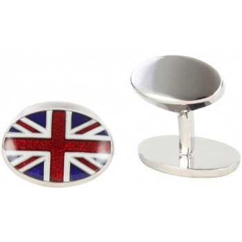 Silver Union Jack David Aster Cufflinks #80-1016