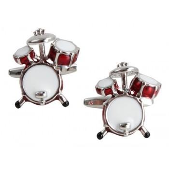 Silver Drum Kit Rhodium Plated Cufflinks #90-1027