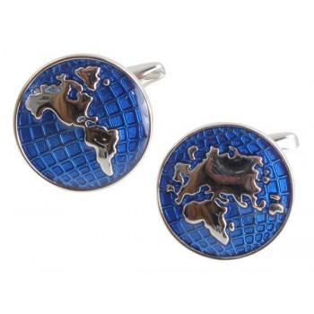 Blue World Map Rhodium Plated Cufflinks #90-1036