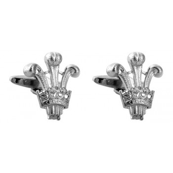 Silver Prince of Wales Rhodium Plated Cufflinks #90-1040