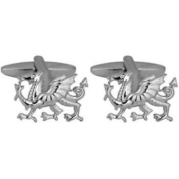 Silver Welsh Dragon Rhodium Plated Cufflinks #90-1080