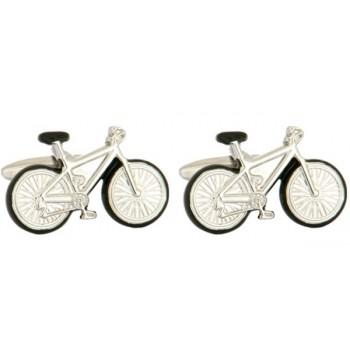Silver Bicycle Rhodium Plated Cufflinks #90-1218