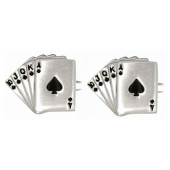 Silver Fan of Spades Rhodium Plated Cufflinks #90-1316