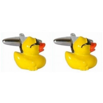 Yellow Rubber Duck Rhodium Plated Cufflinks #90-1377