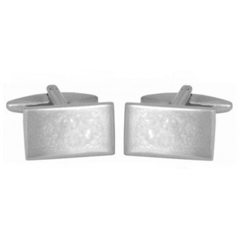 Silver Rectangle Rhodium Plated Cufflinks #90-1380