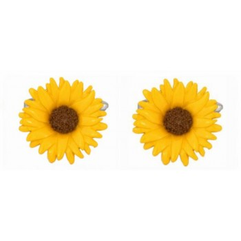 Yellow Sunflower Rhodium Plated Cufflinks #90-1392
