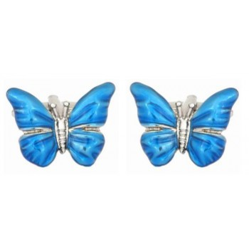 Blue Butterfly Rhodium Plated Cufflinks #90-1398