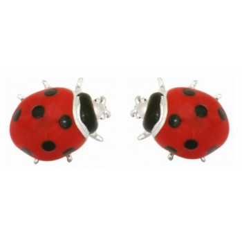 Red Ladybird Rhodium Plated Cufflinks #90-1401