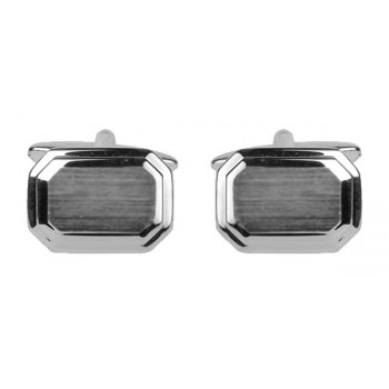 Silver Shiny & Brushed Rectangle Rhodium Plated Cufflinks #90-2161