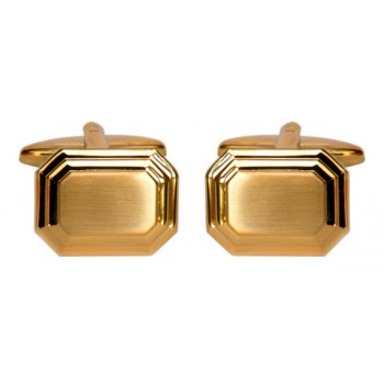 Gold Shiny & Brushed Rectangle Gold Plated Cufflinks #90-2162