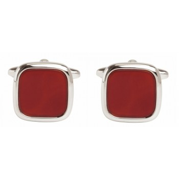 Silver Cornelian Cushion Rhodium Plated Cufflinks #90-240