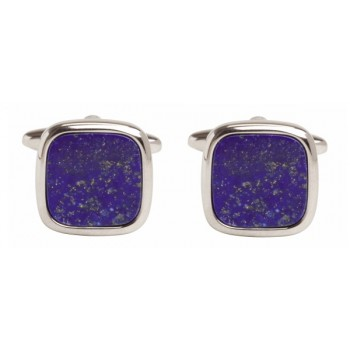 Silver Lapis Lazuli Cushion Rhodium Plated Cufflinks #90-241