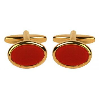 Silver Cornelian Oval Gold Plated Cufflinks #90-250