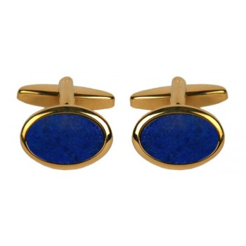 Gold Lapis Lazuli Oval Gold Plated Cufflinks #90-251