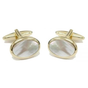 Gold Mother of Pearl Oval Gold Plated Cufflinks #90-252