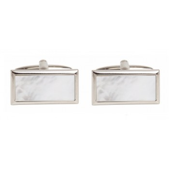 Silver Mother of Pearl Rectangle Rhodium Plated Cufflinks #90-259