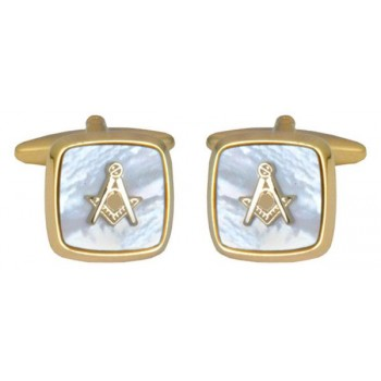 Gold Mother of Pearl Masonic Cufflinks #90-2820