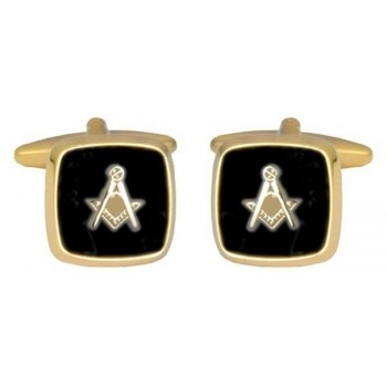 Gold Onyx Masonic Cufflinks #90-2821