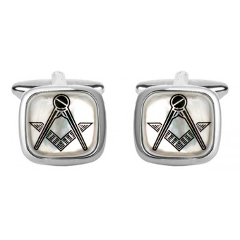 Silver Mother of Pearl Masonic Cushion Rhodium Plated Cufflinks #90-2835