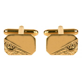Gold Rectangle 1/3 Engraved Gold Plated Cufflinks #90-3000