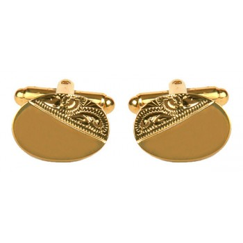 Gold Oval Engraved Gold Plated Cufflinks #90-3003