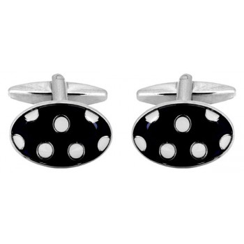 White Dots Cufflinks #90-4041