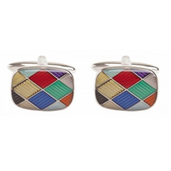 Silver Harlequin Rhodium Plated Cufflinks #90-9025