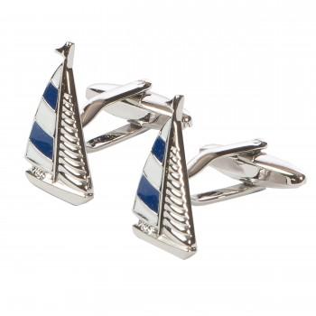 Blue and White Yacht Cufflinks