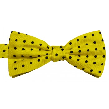 Yellow Black Spot Woven Silk Bow Tie #B5032/7