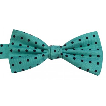 Turquoise Black Spot Woven Silk Bow Tie #B5032/9