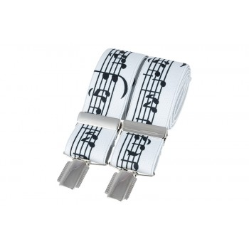 White Music Notes Braces #BR-014