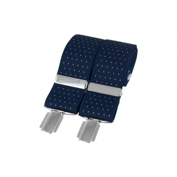 Navy Blue Pin Dot Braces #BR-016