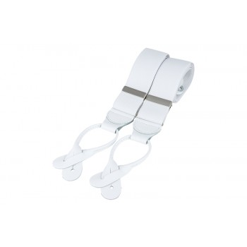 White Rolled Leather Braces #BR-030