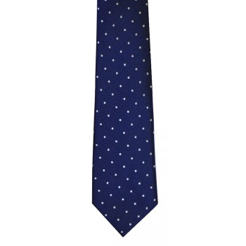 Navy Blue White Polka Dot Slim Tie #C129/2