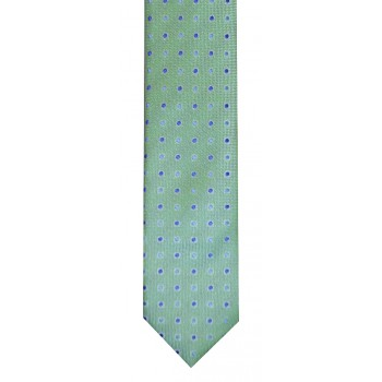 Green and Navy Dot Slim Tie and Hankie Set