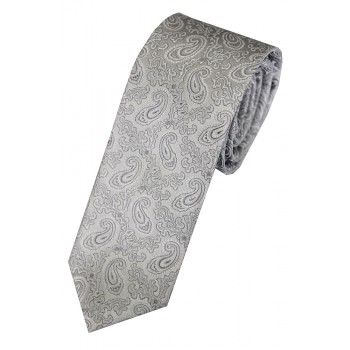 Silver Regal Paisley Slim Tie #C181/4