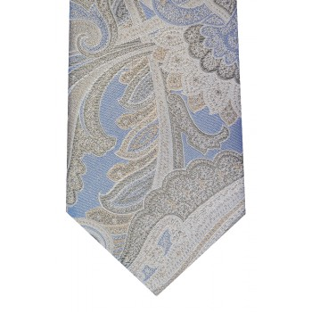 Blue Washed Paisley Silk Tie and Hankie Set