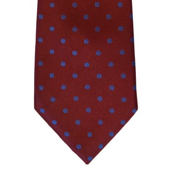 Wine Blue Spot Woven Tie with Matching Pocket Square