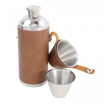 Brown Hunter Stainless Steel Hip Flask #HF-17