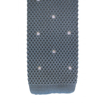 Light Blue White Polka Dot Knitted Slim Tie #K019/5