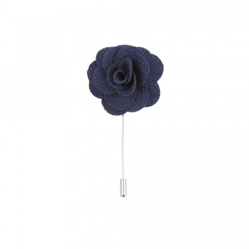 Navy Blue Flower Lapel Pin #L-02