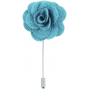 Teal Blue Flower Lapel Pin #L-08